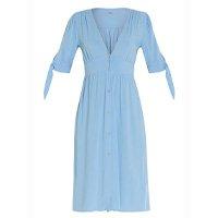 Quintess - Vestido Quintess Azul com Abertura em Botões