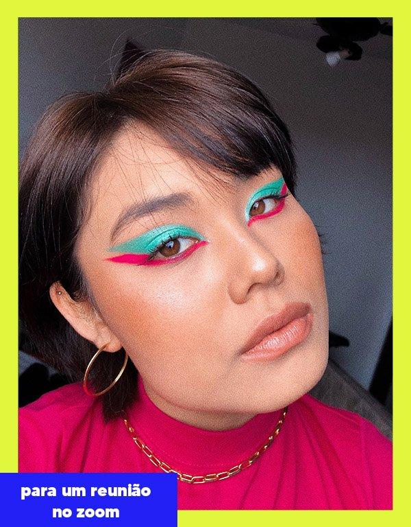 Kauany Yukare - Makes coloridas - Reunião zoom - Outono - Street Style - https://stealthelook.com.br