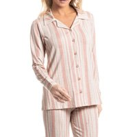 Pijama Longo Abotoado Listrado Liza