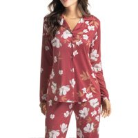 Pijama Longo Estampado Abotoado Mia
