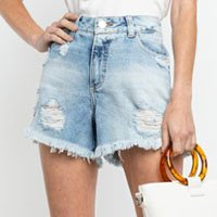 SHORTS DESTROYED JEANS CLARO