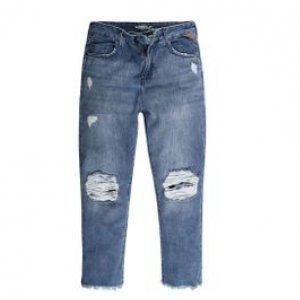 Calça Feminina Jeans Boycropped Destroyed Tamanho 34