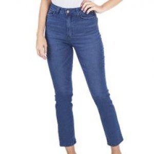 Calça Feminina Jeans Cintura Alta Used Leve Tamanho 34