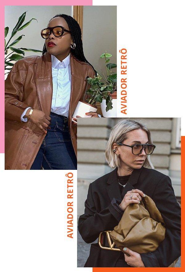 Ada Oguntodu, Karin Teigl - modelos de óculos de sol - óculos aviador - inverno - street style - https://stealthelook.com.br