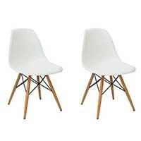 Conjunto com 2 Cadeiras Eames Eiffel Base Madeira Branco