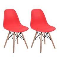 Conjunto com 2 Cadeiras Eames Eiffel Base Madeira Vermelho