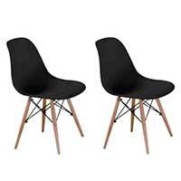 Conjunto com 2 Cadeiras Eames Eiffel Base Madeira Preto