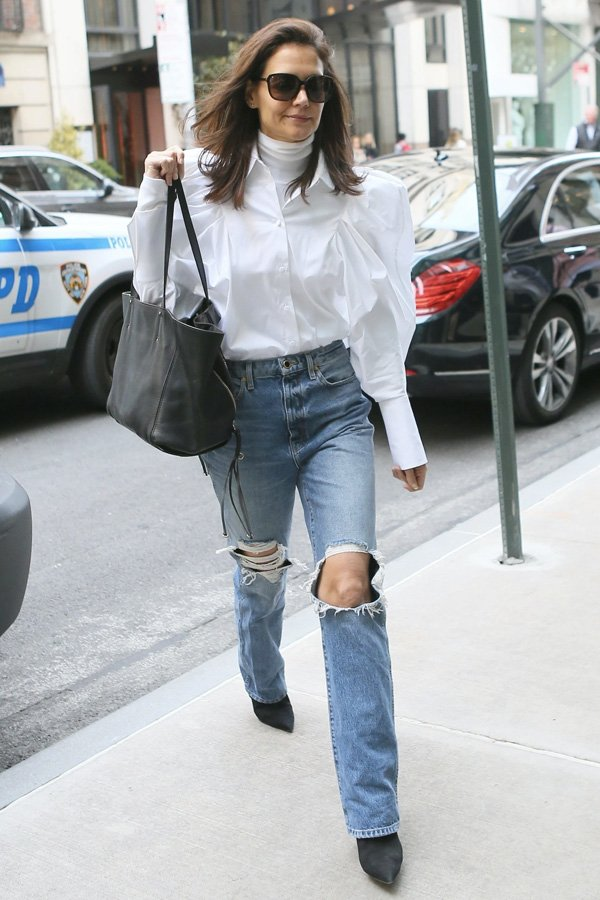 Katie Holmes - looks de inverno - truques de styling - inverno - street style - https://stealthelook.com.br
