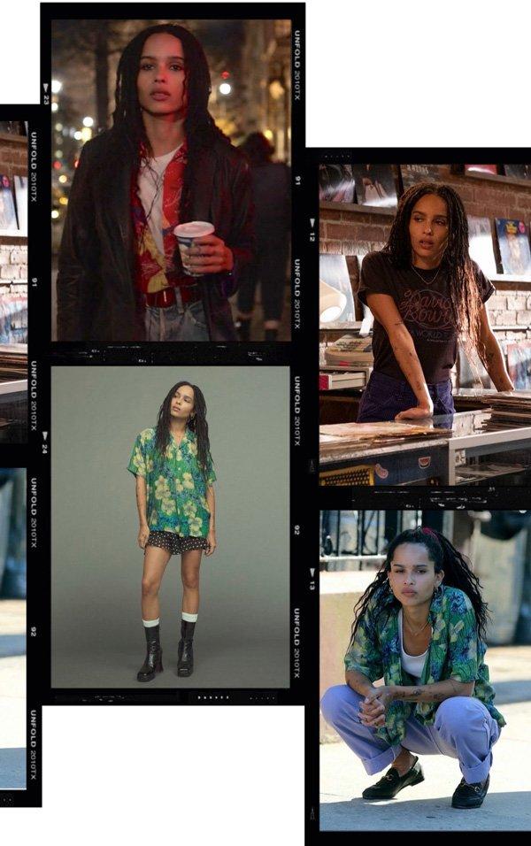 Zoe Kravitz - camisa - t-shirt - outono - high fidelity - https://stealthelook.com.br