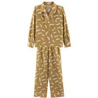 Pijama Feminino Comprido Em Algodão Com Botões - Amarelo