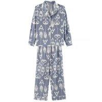 Pijama Feminino Comprido Em Algodão Com Botões - Azul