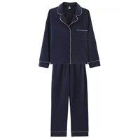 Pijama Feminino Comprido Com Botões - Azul