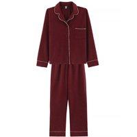 Pijama Feminino Comprido Com Botões - Vermelho