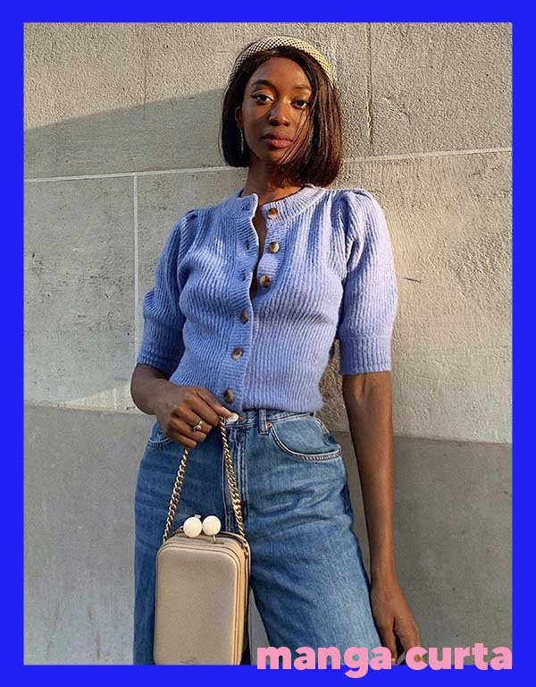 It girls - Manga curta - Tricots - Outono - Street Style - https://stealthelook.com.br