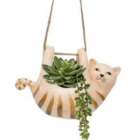 Vaso Cachepô Pendente em Cerâmica Gato