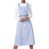 Vestido Salopete My Favorite Thing(s) Midi com Blusa Branco/Azul