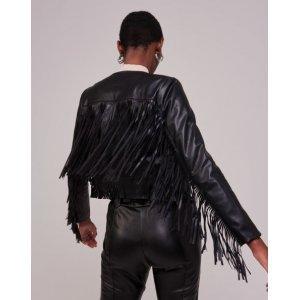 Jaqueta Leather Franjas Longas