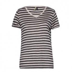 Camiseta Feminina Listras Off+Mescl Tamanho P