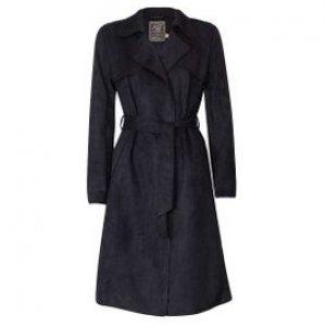 Trench Coat Feminino Em Suede Com Amarração Pto Tamanho P