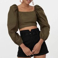BLUSA CROPPED MANGAS BUFANTES VERDE
