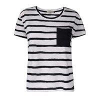 Camiseta Feminina Listras Com Bolso Frente Listrado Tamanho P