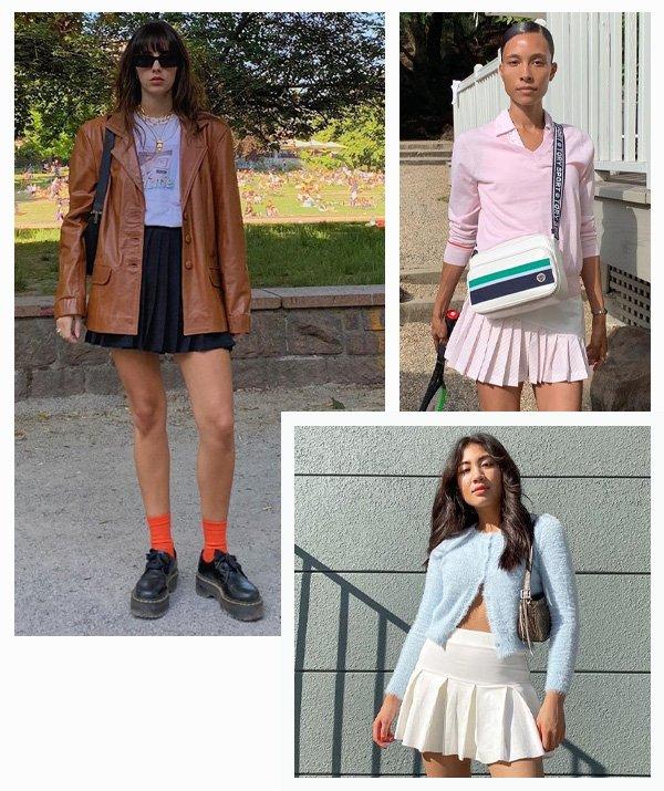 Debora Spanhol, Jeannine Roxas, Tylynn Nguyen - Zoë Kravitz - saia plissada - inverno - street style - https://stealthelook.com.br