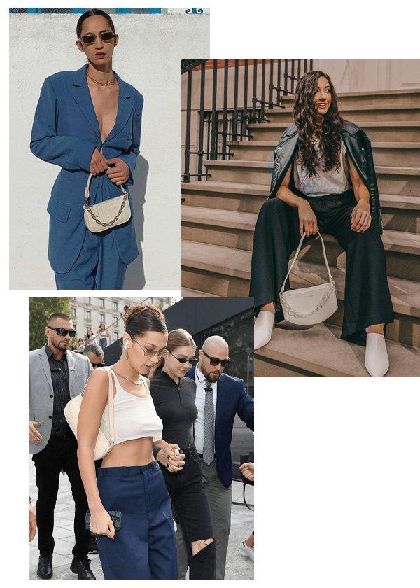 Emna Sellimi, Melissa Frusco - bolsa trendy - bolsa baguette - inverno - street style - https://stealthelook.com.br