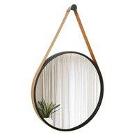 Espelho Decorativo Adnet - 40 Cm de Diâmetro - Aro Preto / Alça Caramelo