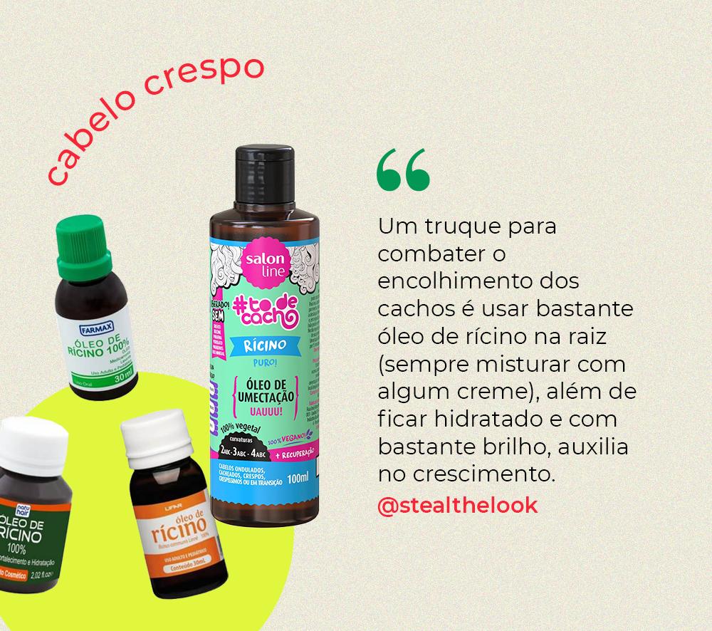 oleo de ricino - umectação - cabelo crespo - como cuidar do cabelo crespo - São Paulo - https://stealthelook.com.br