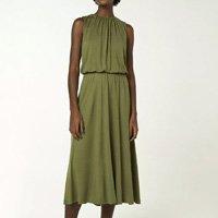 Vestido Midi Regata Com Decote Costas - Verde Musgo