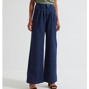 Calça Pantalona Jeans Lisa