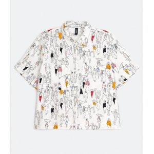 Camisa Cropped Manga Curta Estampa Pessoas