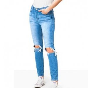 Calça Jeans Feminina Mom Stone Tamanho 38