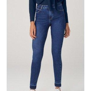 Calça Super Skinny Em Jeans Cintura Média