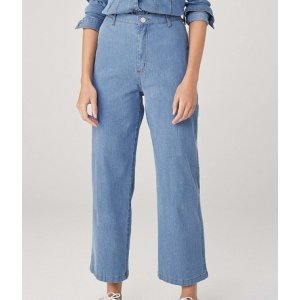 Calça Wide Leg Em Jeans