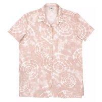 Camisa Feminina Alongada Com Manga Curta Tie Dye - Rosa