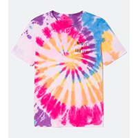 CAMISETA TIE DYE COM ESTAMPA GOOD LUCKY COLORIDA