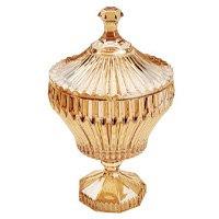 Potiche Com Pé Cristal Renaissance Âmbar 11,5X20Cm Lyor