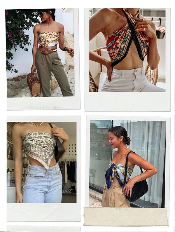 Pinsterest - lenço  - anos 2000 - verão  - Street Style  - https://stealthelook.com.br
