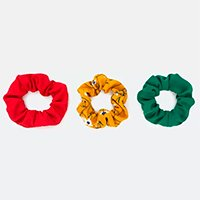 KIT 3 SCRUNCHIES LISO E FLORAL MULTICORES