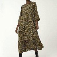 Vestido Longo Manga Longa Estampado - Amarelo