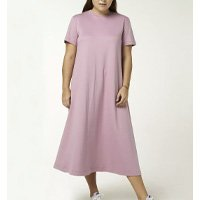 Vestido Básico Midi Manga Curta - Roxo