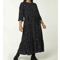 Vestido Longo Manga Longa Estampado - Preto