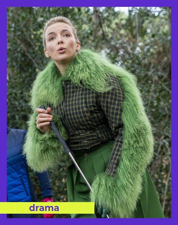 Jodie Comer - casaco-verde - pelo - inverno - Killing Eve - https://stealthelook.com.br