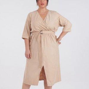 Vestido em Cupro com Cinto Curve & Plus Size