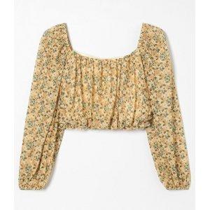 Blusa Cropped Franzida em Tule Floral