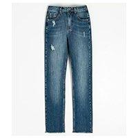 Calça jeans reta com pespontos triplos e leves puídos