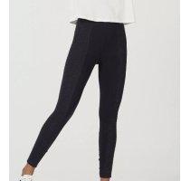 Calça Legging Em Algodão Com Elastano E Recorte Lateral - Preto