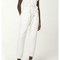 Calça Feminina Cintura Alta Com Cordão Para Amarração - Branco