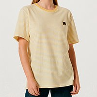 Camiseta Unissex Listrada Com Bordado Smiley - Amarelo